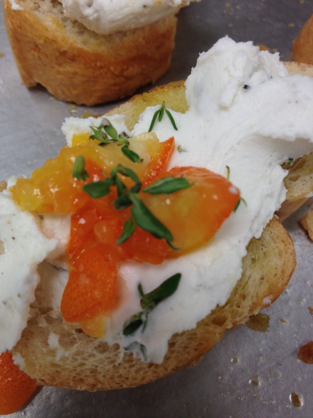 The goat cheese & kumquat crostini was most excellent!