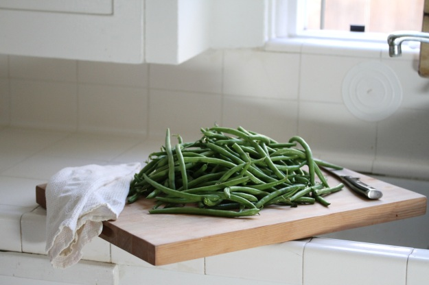 Green beans on the cutting board
